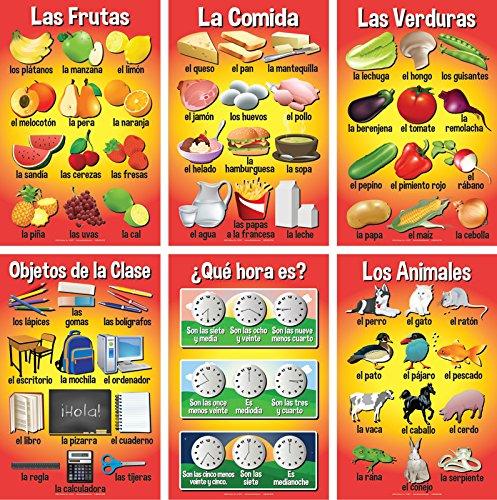 Set of Basic Spanish Posters #3 (Set of 6) Classroom Basics 6 Poster
