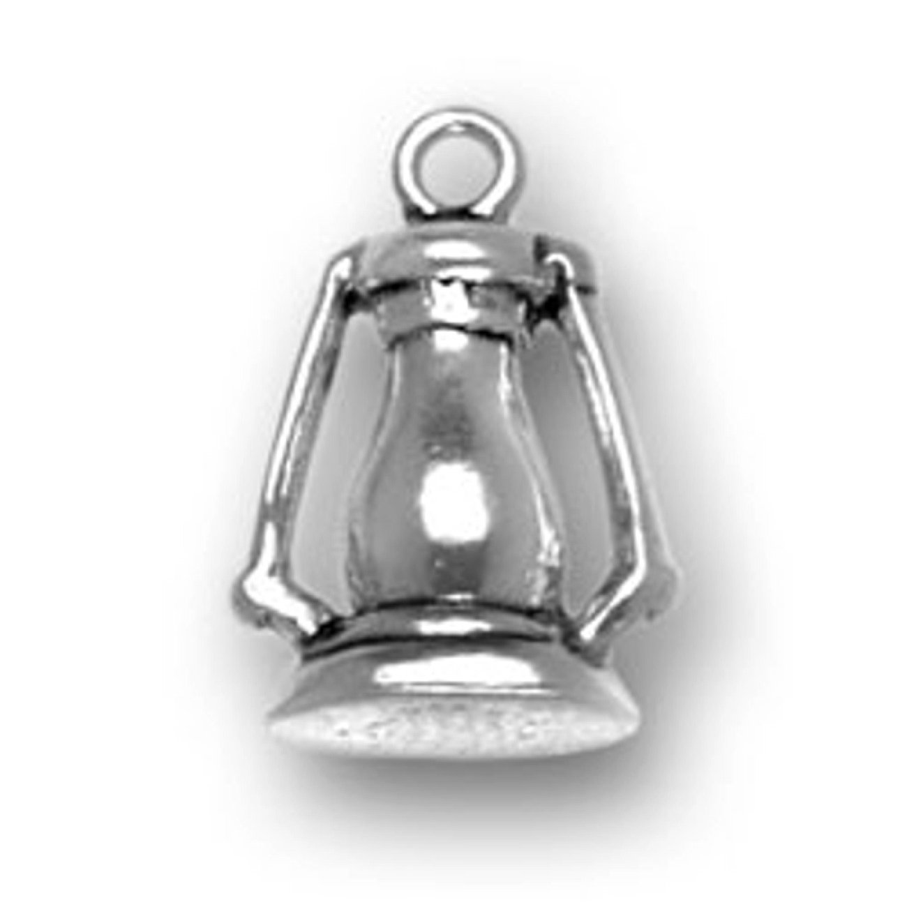 Sterling Silver 7 4.5mm Charm Bracelet With Attached 3D Emergency Or Camping Kerosene Lantern Charm