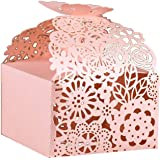 """KAZIPA 50pcs Laser Cut Favor Boxes, 2.6"""" x 2.6"""" x 1.6"""" Floral Favor Boxes, Party Favor Boxes for Bridal Shower…"""