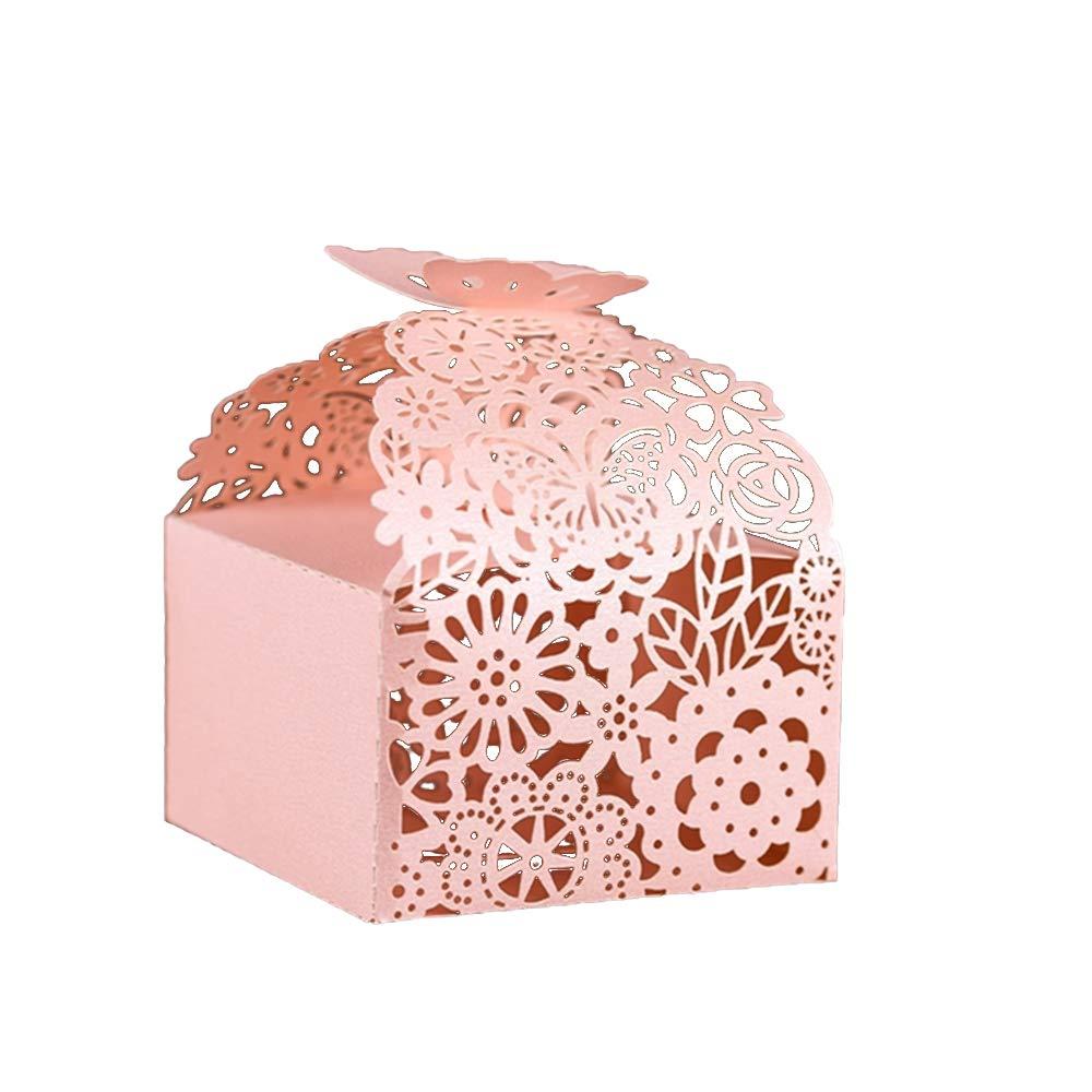 KAZIPA 50pcs Laser Cut Favor Boxes, 2.6'' x 2.6'' x 1.6'' Floral Favor Boxes, Party Favor Boxes for Bridal Shower Anniverary Wedding Party Favor, Pink