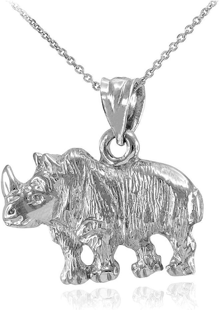 Rhino Head Rhinoceros 92.5 Sterling Silver Brass Gold Necklace Pendant Jewelry