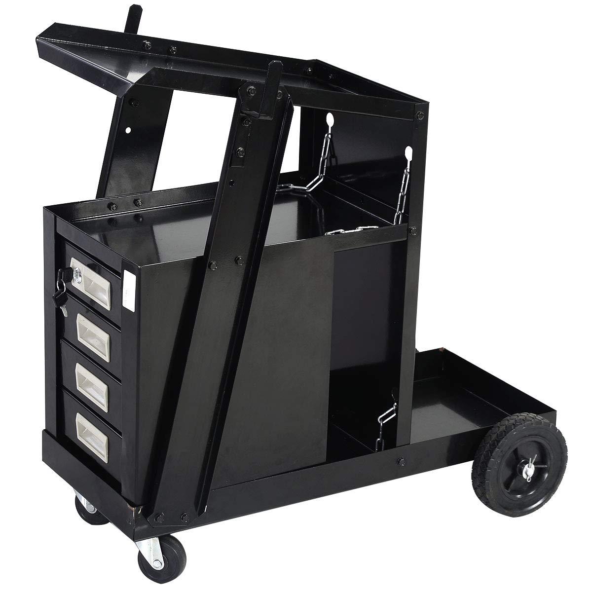 Goplus Welder Cart, MIG TIG ARC Welding Plasma Cutter Tank Storage w/2 Safety Chains, 100 Lb Capacity, Portable 4-Drawer Cabinet by Goplus
