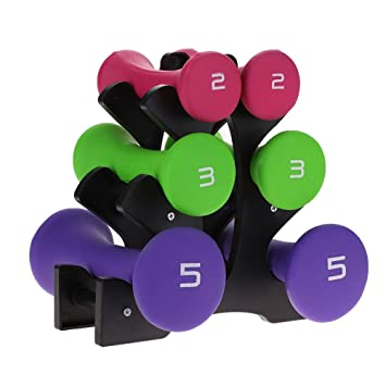 GOTOTOP Juego de pesas de neopreno con soporte multicolor para mujer para gimnasio en casa: Amazon.es: Deportes y aire libre