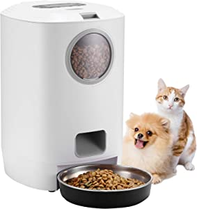 Automatic Cat Feeder,4.5L Smart Dry Food Dispenser for Cats and Small Dogs with Stainless-Steel Bowl,1-4 Meals per Day & 10s Voice Recorder & Programmable Timer for Small Pets
