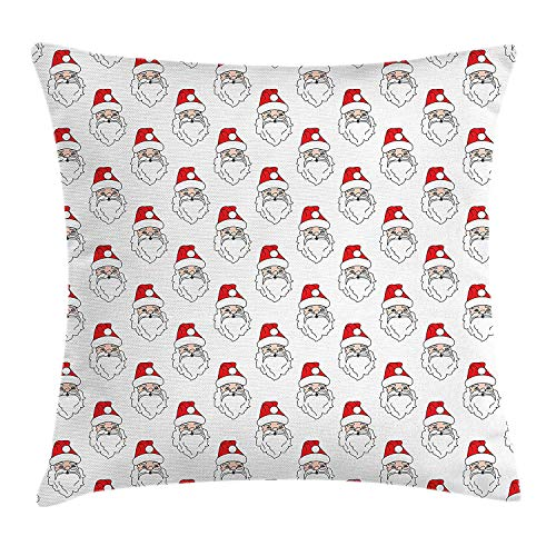 (Yingzsal Christmas Throw Pillow Cushion Cover, Santa Claus Portraits Xmas Themed Illustration New Years Composition, Decorative Square Accent Pillow Case, 18 X 18 Inches, Vermilion Peach White)