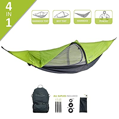 flying tent: Unique All-in-ONE Hammock Tent, Bivy Tent, Hammock and Rain Poncho + Fine Mesh Mosquito Net - Grass Hopper Green: Sports & Outdoors