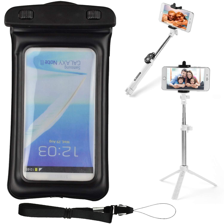 VG Case Selfie Photo Stick Bundle with Black Floating Waterproof Cell Phone Case Dry Bag Pouch for Google Pixel 3a XL, 3a, 3 XL 2 XL, Greatcall Jitterbug Smart Smart2, HTC U12+ U11 U Ultra