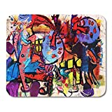 Deglogse Gaming Mouse Pad Mat, Watercolor Color Abstract Painting Digital Collage Mixed Media Colorful Mouse Pad, Desktop Computers mats