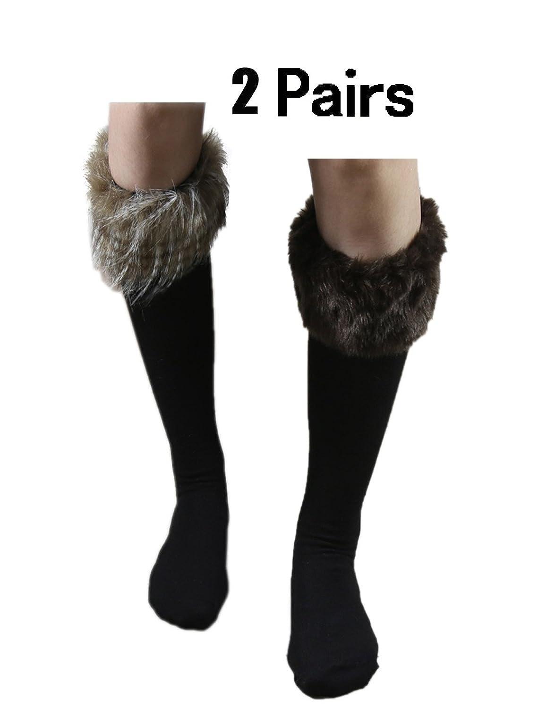 651725544324cf 2 Pack Womens Fashion Faux Fur Socks   Boots Cuffs Cover   Leg Warmers One  Size