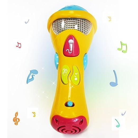 Wishtime - Juguetes de Sonido para niños (grabación, transformación acústica, Canciones e iluminación) Primer micrófono Musical de Karaoke electrónico para ...