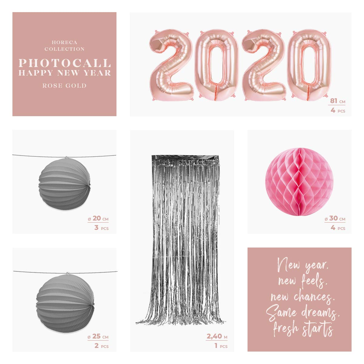 Incluye Globos Metalizados Gold Rose 2020 Horeca Collection Pack Ahorro Photocall Nochevieja 2020 Gold Rose Luxury Honeycomb Rosa y L/ámparas Papel Cortina Metalizada Foil