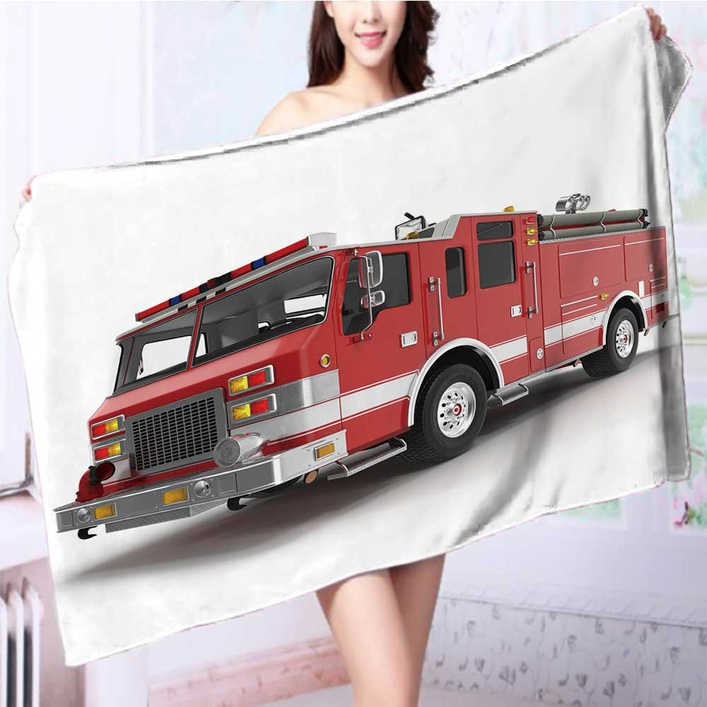 SOCOMIMI Quick dry bath towelbig red fire truck isolated on white d illustration Absorbent Ideal for everyday use L63 x W31.2 INCH by SOCOMIMI