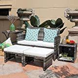 OC Orange-Casual 5 Pcs Wicker Patio Bistro Set with Seat Cushions and Ottoman, Rattan Nesting Side Table for Storage for Garden, Porch, Balcony