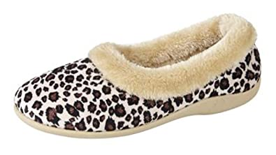5df27f858371 Womens Ladies Luxury Full Slippers Leopard Print Size UK 3 - 8 OUTDOOR SOLE  (4