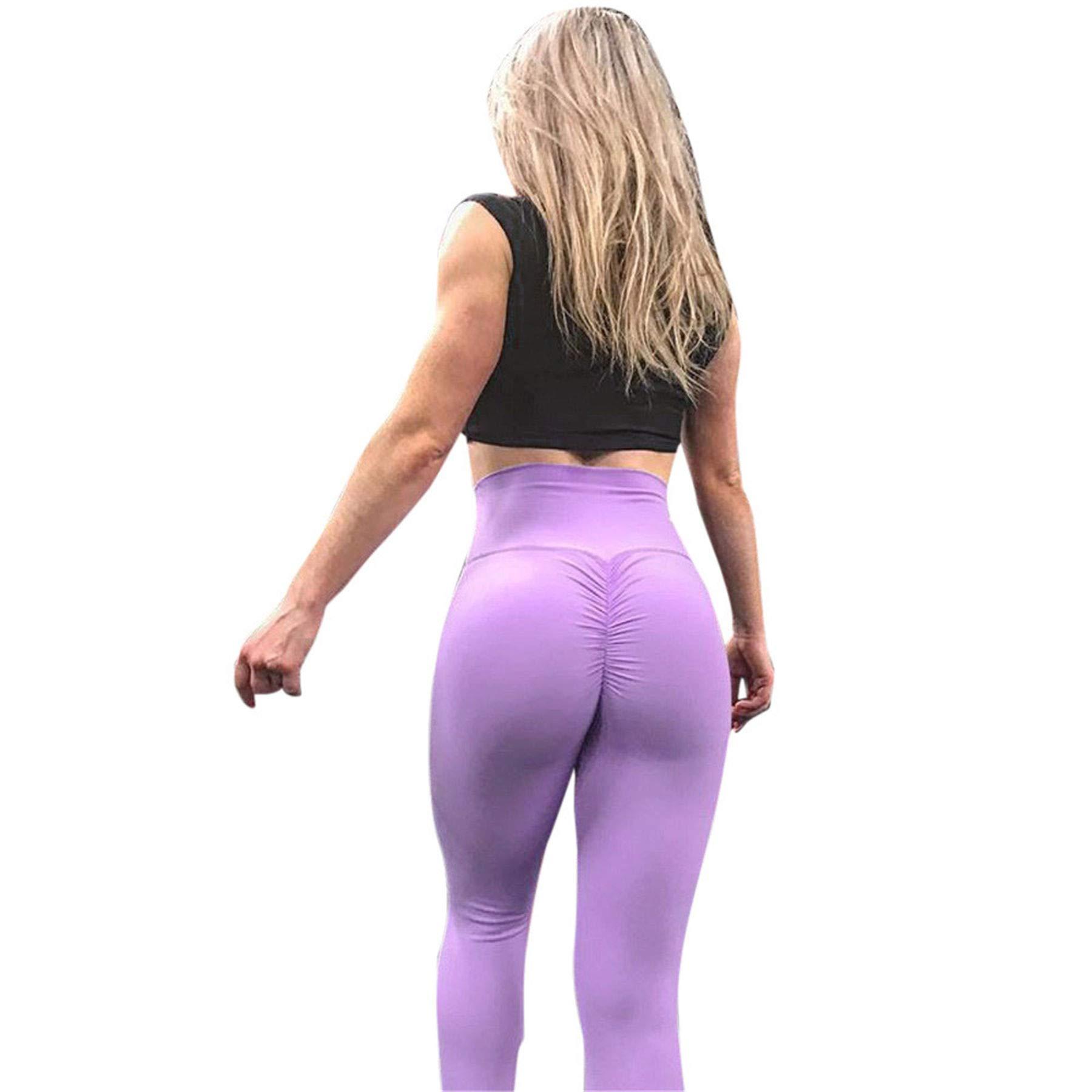 pengchengxinmiao Women Yoga Fitness Pants Abdomen Hips Leggings Sports Activewear Slim Solid Running Athletic Riding Trousers Purple
