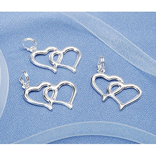 Double Heart Charm Jewelry (Double Linked Heart Charms Favor Invitation Decoration Silver 100 Pieces)