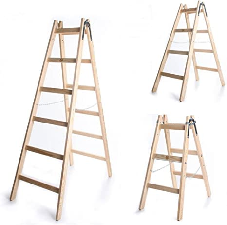 Escalera doble estándar con peldaños de madera maciza 2 x 5: Amazon.es: Bricolaje y herramientas