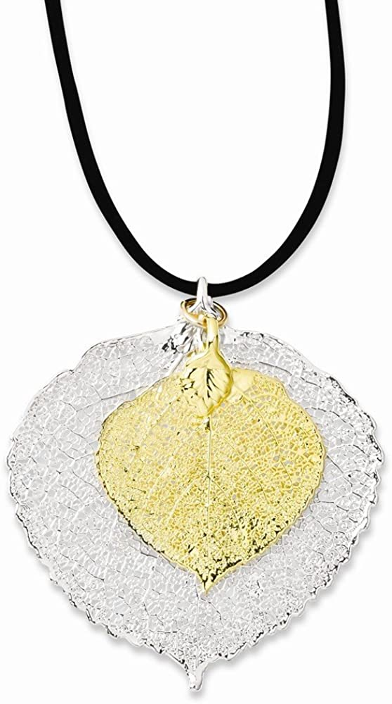 24k Gold Dipped Double Aspen Leaf Pendant Necklace Charm Chain 20 Solid Silver