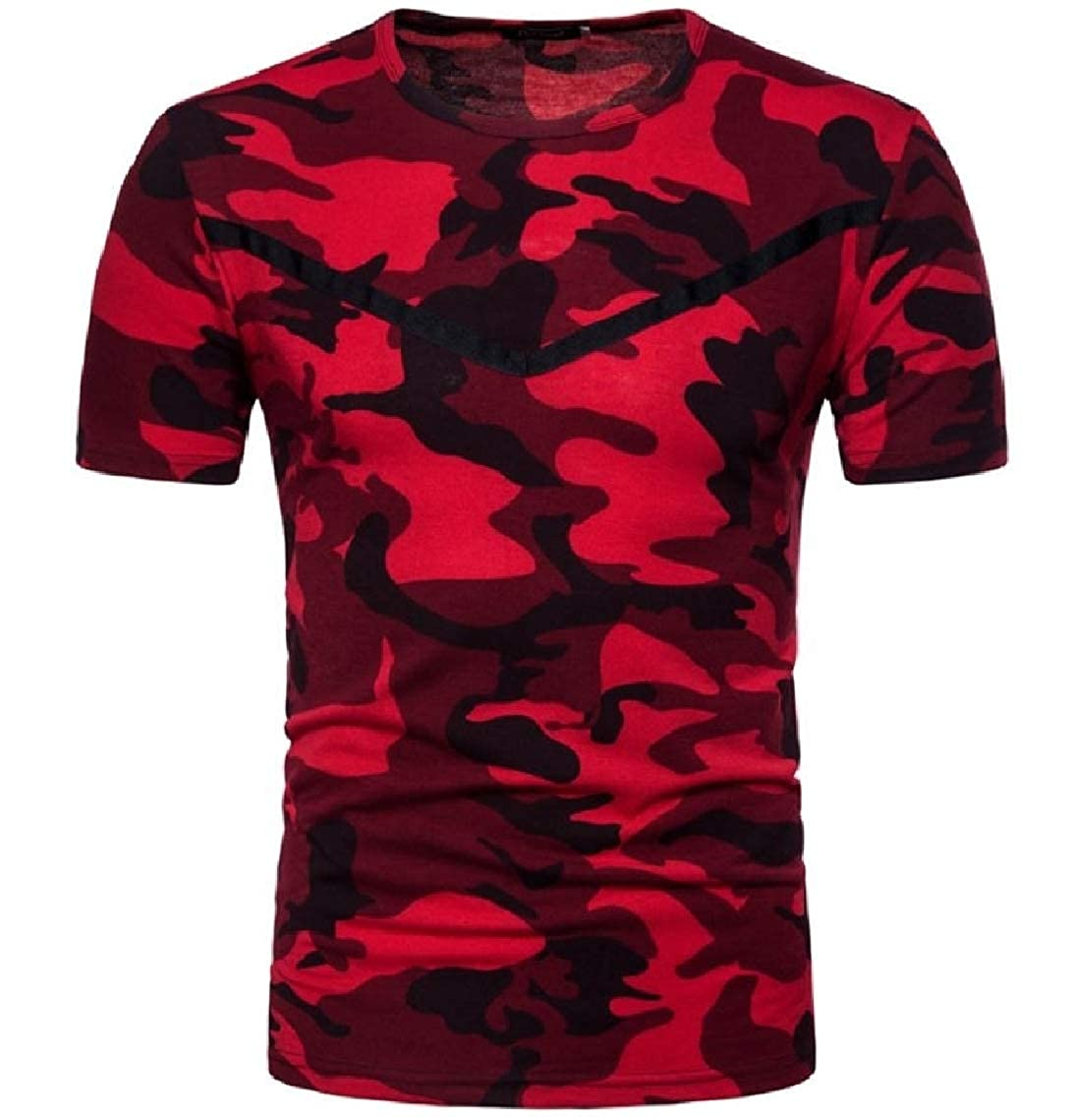 Mfasica Men Short Sleeve Crew Neck Camouflage Color Printing Pullover Tees Top