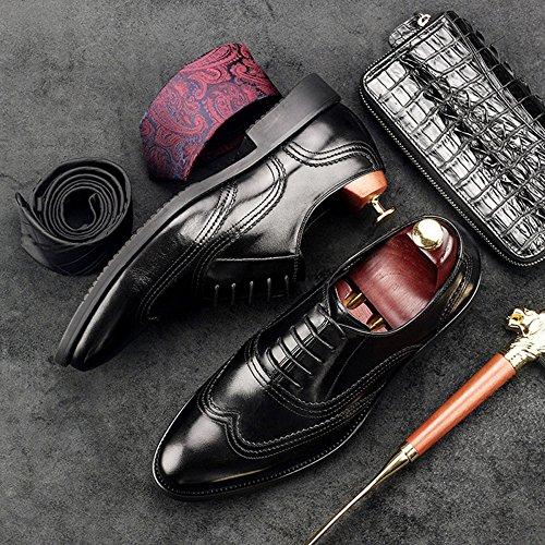 Toe Chaussures pour Antidérapant pour Cuir Cuir Hommes Chaussures Pointu Mariage en Fit Large Brogue Chaussures Hommes Sculpté Black YgZqxwzv