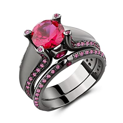 Black And Pink Wedding Rings | Amazon Com Castillna Black Rhodium Plated 925 Sterling Silver