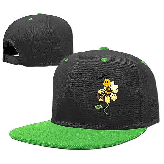 e52348c7676 Children Hip Hop Baseball Cap Bee On Flower Adjustable Flat Brim Snapback  Hats Girl