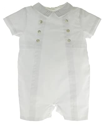 4f70bd613 Amazon.com  Sarah Louise Boys White Christening Outfit Shortall with ...