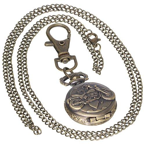Motorcycle Archaize Watches Bronze Vintage Brass Antique Case Pocket Watch 1 PC Necklace 1 PC Key Clip Quartz Pendant Watch Fob Nurse Watch