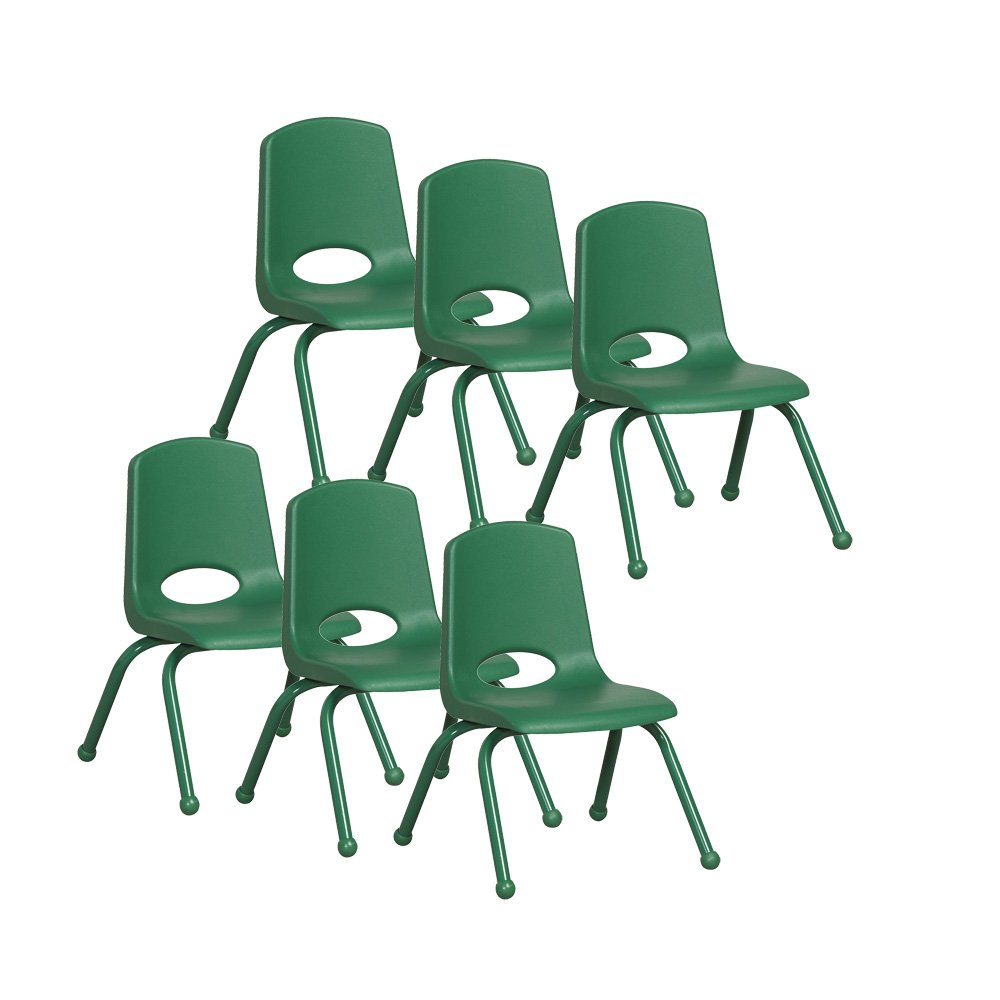 ECR4Kids 12'' School Stack Chair with Powder Coated Legs and Ball Glides, Green (6-Pack)