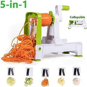 GQQG 5-Blade Spiralizer Vegetable Slicer, Collapsible Heavy Duty Spiral Slicer Cutter Veggie Chopper Powerful Anti-Slip Sucker Spiral Slicer for Zucchini Noodles & Veggie Pasta Maker