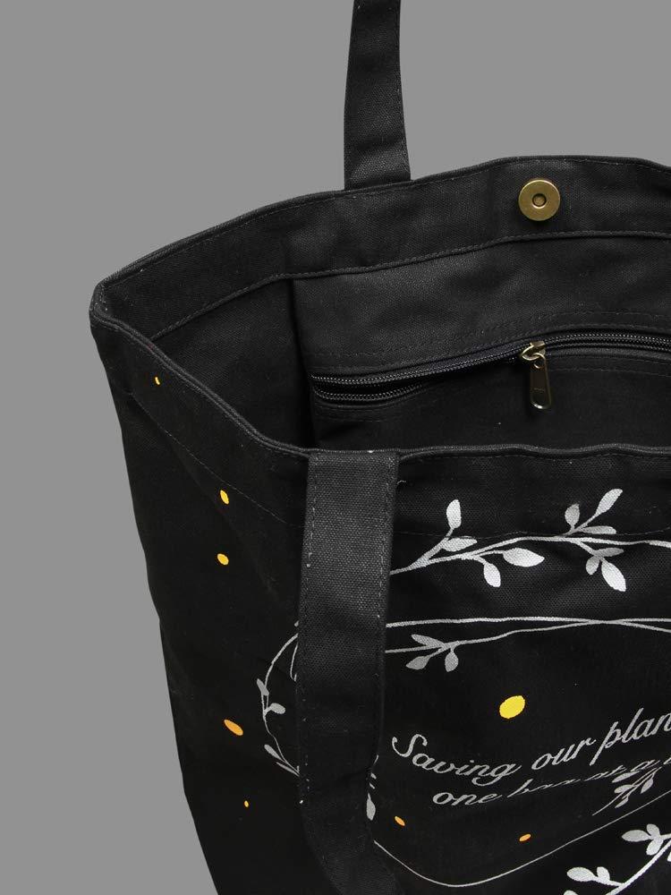 Eono Essentials 100/% Cotton//Canvas Large Tote Bag Printed Saving Our Planet Black Reusable