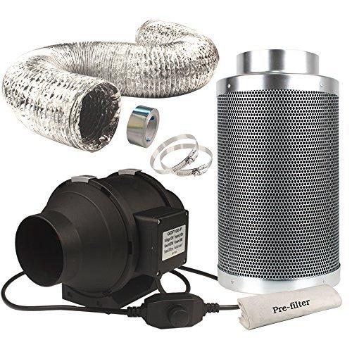 Casolly 6-Inch Inline Fan Carbon Filter Fan Combo 315 CFM Fan...