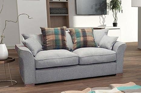 Hugo - Juego de sofá de lujo, tela, Plateado, 3 Seater Only ...