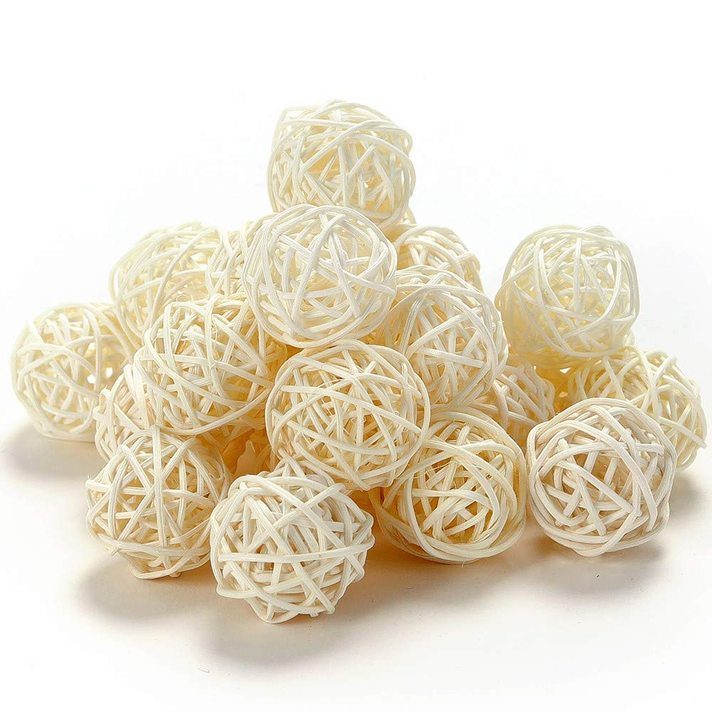 Byher 24pcs Wicker Rattan Balls for Home Decoration (3cm, White)
