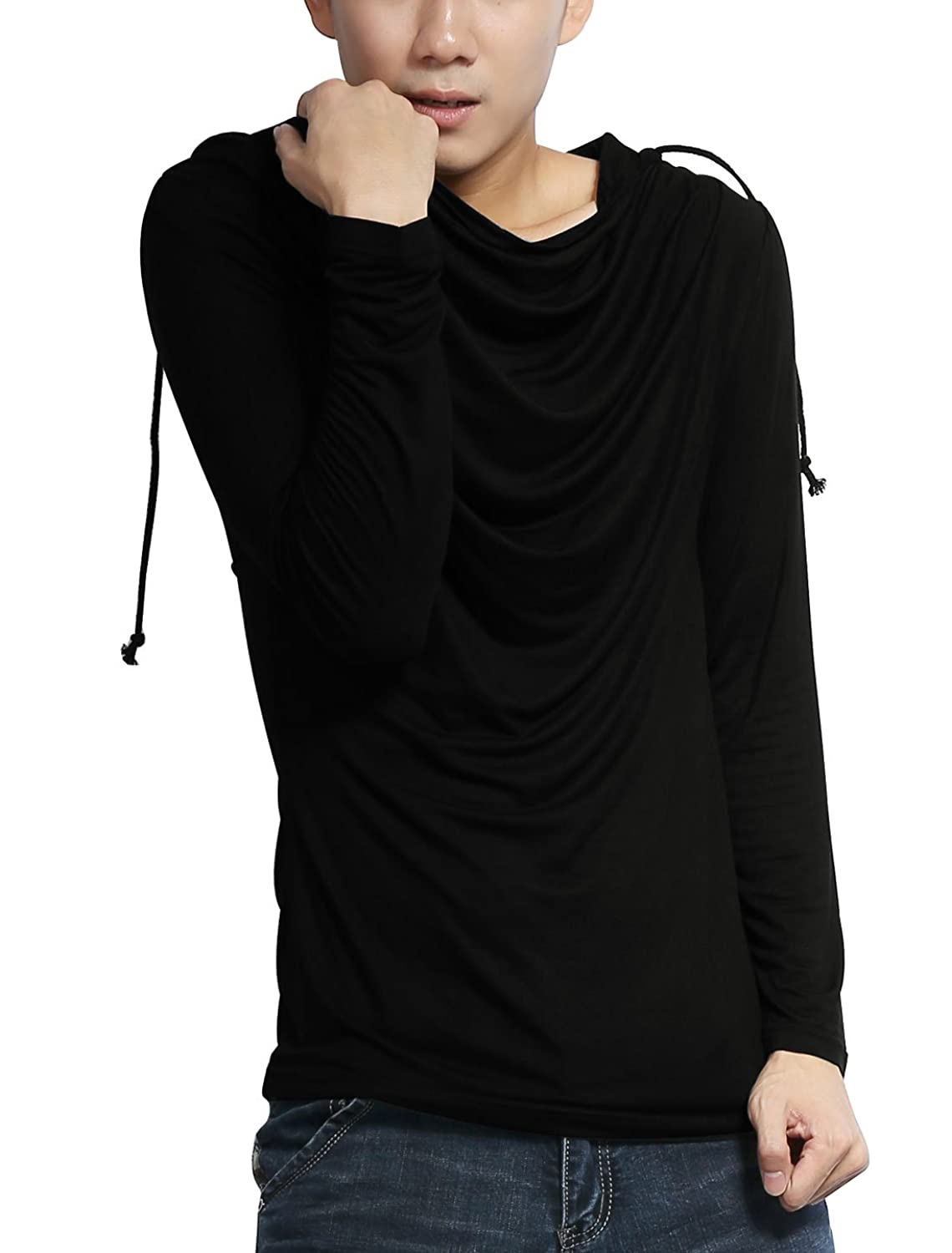 Allegra K Men Cowl Neck Long Sleeves Drawstring Hooded Sweatshirt