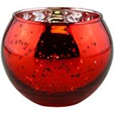 """Just Artifacts Round Mercury Glass Votive Candle Holder 2""""H (Speckled Red, Set of 12) - Mercury Glass Votive Candle Holders for Weddings and Home Décor"""