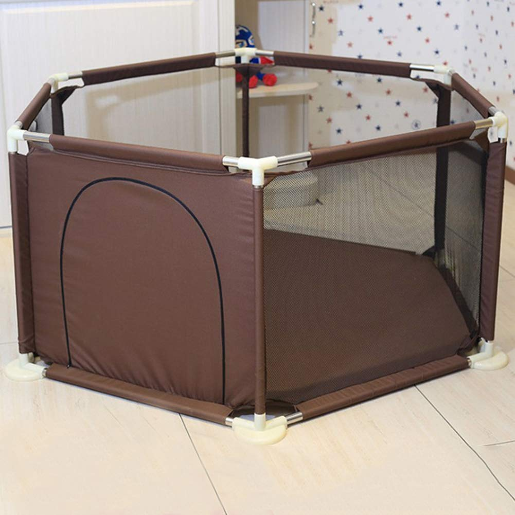 LVMAO Baby playpen,Baby Fence Crawling Toddler Fence Home Toy Care Game Baby mat Indoor Marine Ball Pool Color,Brown by LVMAO
