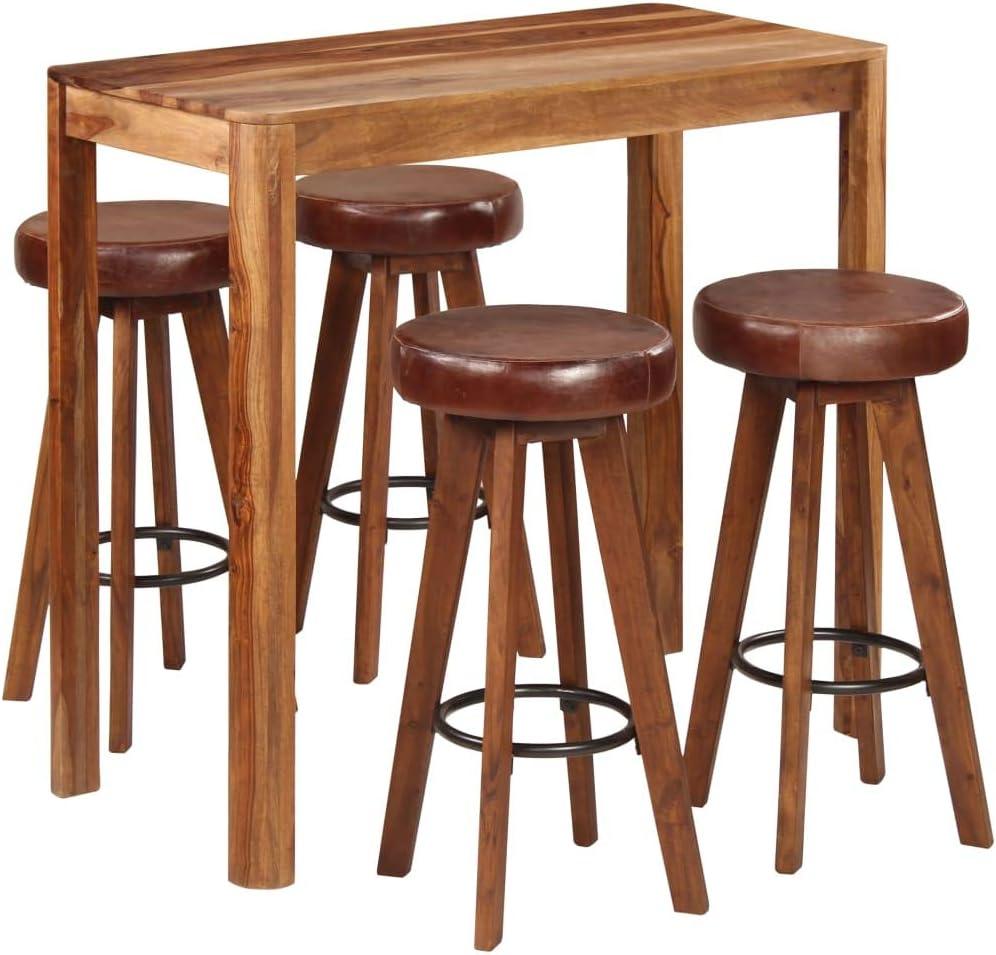 vidaXL Legno Massello di Sheesham Tavolo da Bar Tavolino da Pub Tavolo Alto per Bistrot Tavolinetto Tavola Mobili per Spazi Commerciali 110x60x110 cm