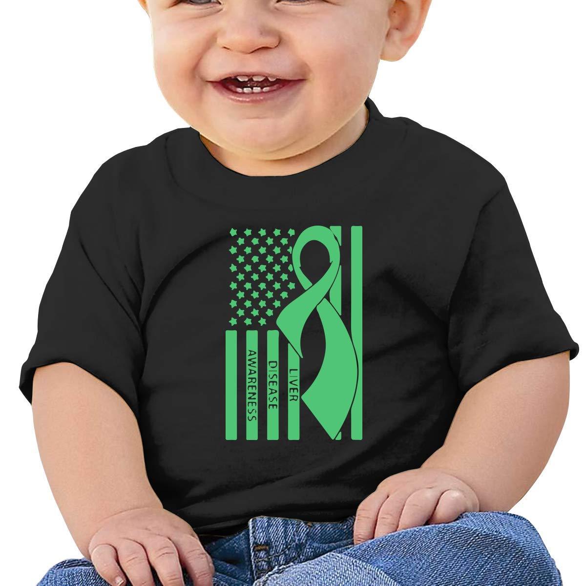 Liver Disease Awareness Newborn Baby Newborn Short Sleeve T-Shirt 6-24 Month Soft Tops