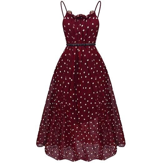 fe2b4cdf8eb1 Miayon Women's Polka Dots Maxi Dress Sleeveless Long Chiffon Dresses Casual Summer  Dress (Wine red