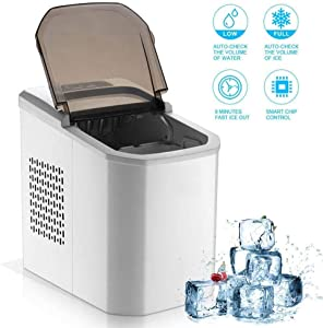 XHCP Ice Maker Machine Counter Top Home, Ice Cubes Ready in 8 Mins, Perfect for Parties Mixed Drinks, Electric Ice Maker 15Kg Capacity, No Plumbing Required
