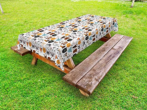 Lunarable Animal Outdoor Tablecloth, Cat and Dog Faces Best Friends Whisker Bulldog Beagle Labrador Calico Kitty Print, Decorative Washable Picnic Table Cloth, 58 X 104 inches, Multicolor by Lunarable