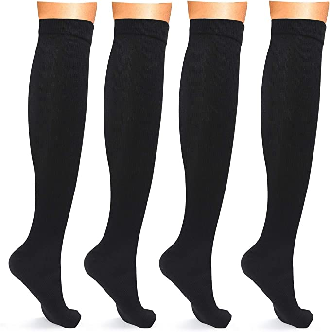 Pregnancy Compression Socks for Women and Men Running Beige, Small 15-20 mmhg Regular and Wide Calf Knee High Support Stockings for Nurses