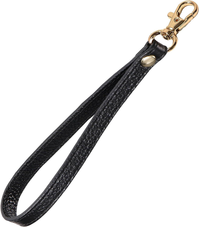 Genuine Leather Wrist Strap Wristlet w//Swivel Clip for Wallet Bag Key Phone Case