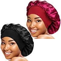 ASHILISIA 2 Pcs Wide Elastic Band Satin Sleep Bonnet Soft Night Sleeping Cap for Women