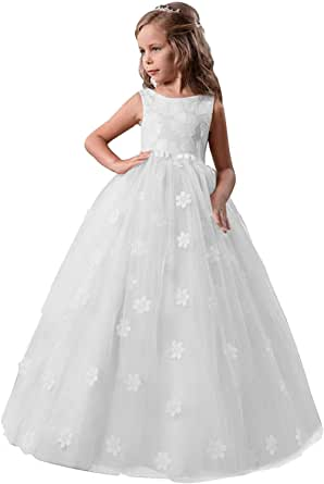 TTYAOVO Girls Pageant Princess Flower Dress Kids Prom Puffy Ball Gowns