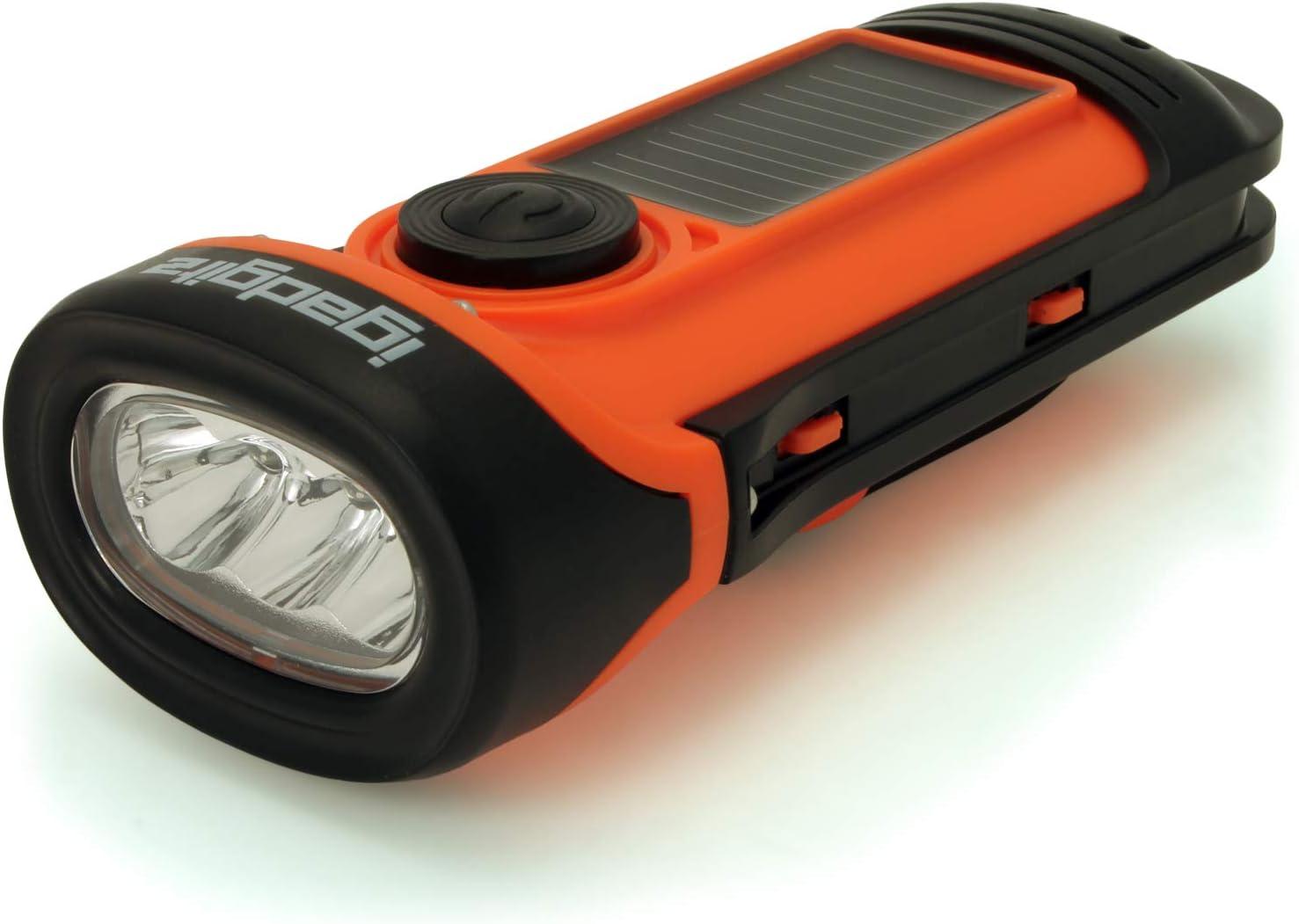 Solaire LED Portable Urgence Lampe Torche Main Remonter Crank Mini-Torch Lumière