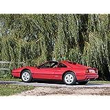 "Ferrari 328 GTS UK Version (1985) Car Art Poster Print on 10 mil Archival Satin Paper Red Rear Side Static View 17""x11"""