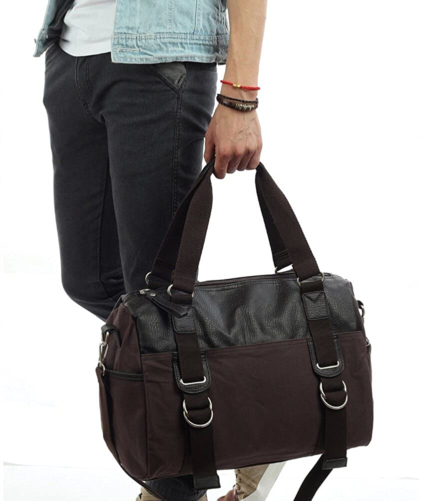 Gumstyle Men Canvas Leather Small Duffel Large Capacity Traveling Shoulder Bag