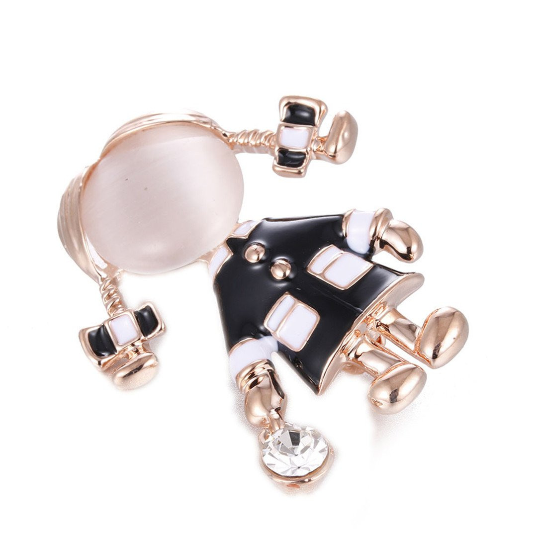 MLXZ Small Cute Girl Brooches For Women Opal Rhinestone Brooch Pin Gold Color Dress Coat Accessories Gift CC18486A
